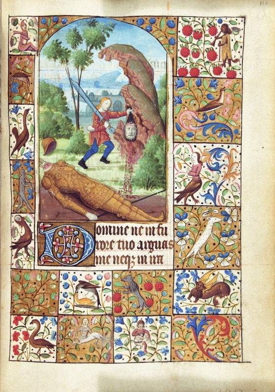 Penitential Psalms, David and Goliath, fol. 111r